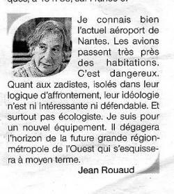 Déclaration de Jean Rouaud dans le journal Ouest-France du 21 février 2016.
